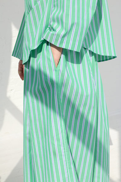 Cristaseya Japanese Cotton Maxi Skirt in Striped Green on model view pocket detail