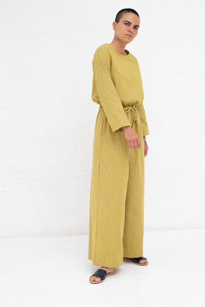 Marrakshi Life Round Collar Wide Leg Jumpsuit in Double Pinstripe Besara/Navy | Oroboro Store | New York, NY