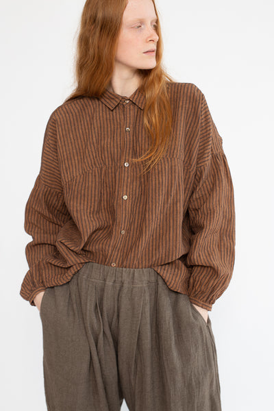 Ichi Antiquites Top in Brown Linen | Oroboro Store | New York, NY