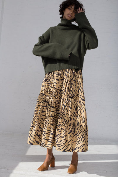 Rejina Pyo Eve Skirt in Tiger Print Beige full front view