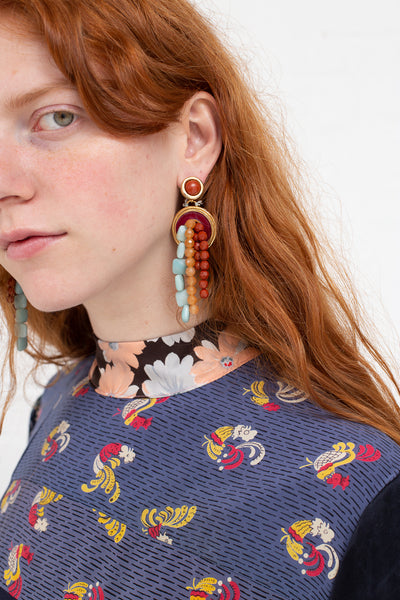Abby Carnevale Beaded Earrings in Fuchsia, Orange and Blue | Oroboro Store | New York, NY