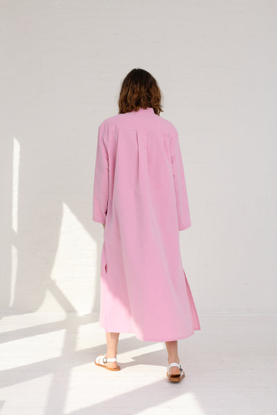Cristaseya Seersucker Cotton Maxi Shirt Dress in Light Pink on model view back
