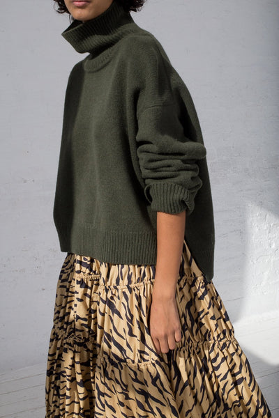 Rejina Pyo Eve Skirt in Tiger Print Beige cropped side view