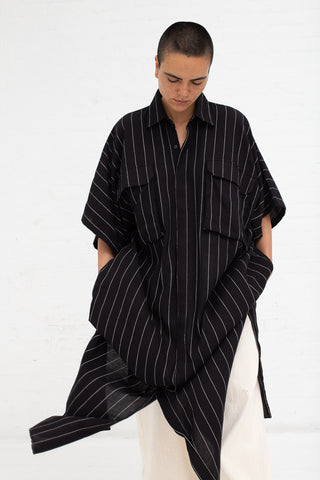 Caftan with Pockets - Pinstripe Black/Ecru | Oroboro Store | New York, NY