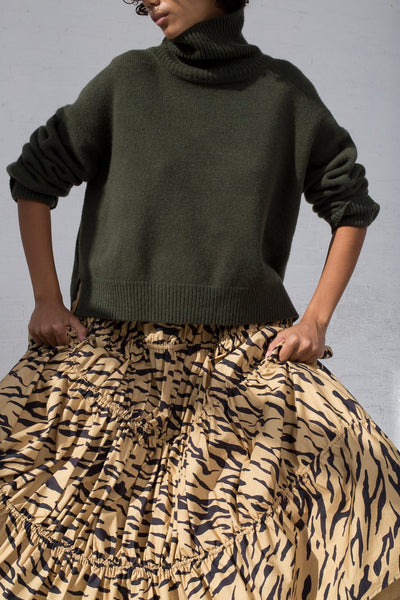 Rejina Pyo Eve Skirt in Tiger Print Beige cropped front view
