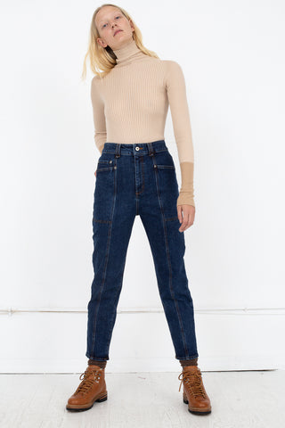 Rito Stretch Denim Pants in Navy | Oroboro Store | New York, NY