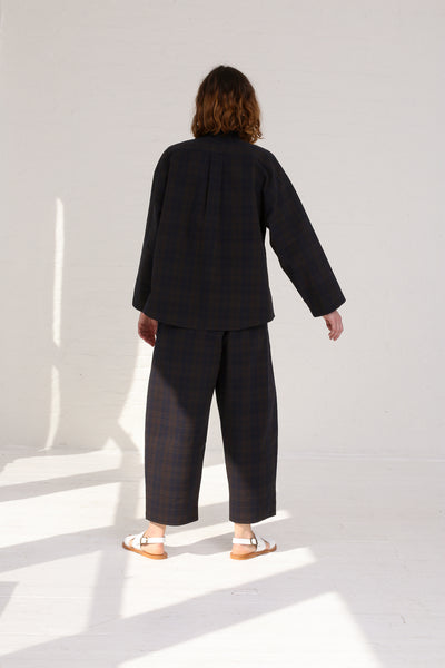 Cristaseya Striped Seersucker Moroccan Pyjama Pants  in Black / Brown Striped on model view back