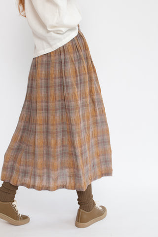 Skirt in Brown Rayon Linen Check