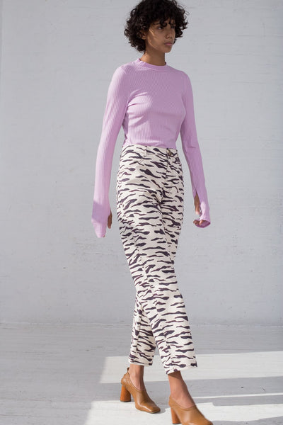 Rejina Pyo Sofia Jeans in Print Tiger Ivory full side view