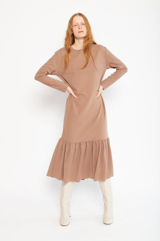 Bouquet Dress in Camel Wool/Nylon