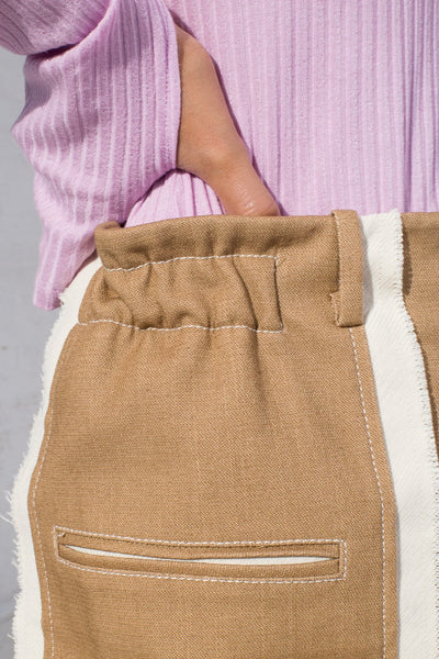 Rejina Pyo Aubrey Trouser in Cotton Camel + Italian Canvas Ecru cropped pocket detail view
