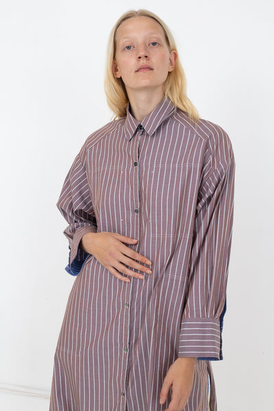 Rito Long Reversible Stripe Shirt in Blue | Oroboro Store | New York, NY