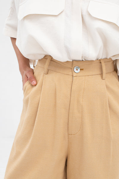 Marrakshi Life Wide Leg Pleated Trouser in Solid Camel | Oroboro Store | New York, NY