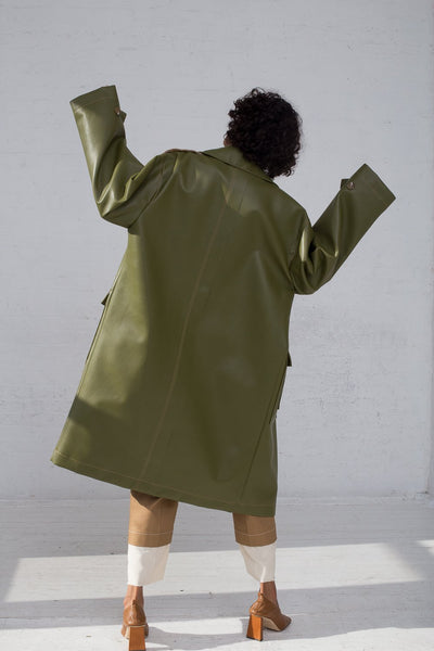 Rejina Pyo Joanna Coat in Sage Green full back view