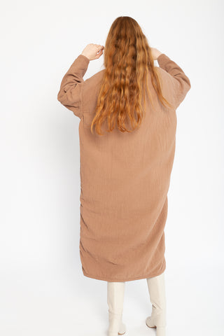 Black Crane Easy Dress in Camel Cotton/Linen, Back View Full Body