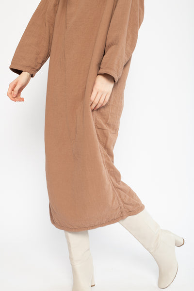 Easy Dress in Camel Cotton/Linen
