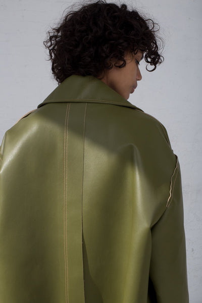 Rejina Pyo Joanna Coat in Sage Green cropped back view