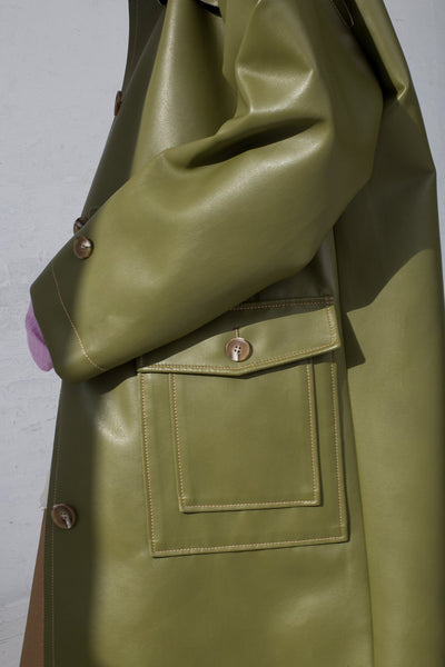 Rejina Pyo Joanna Coat in Sage Green cropped pocket detail view
