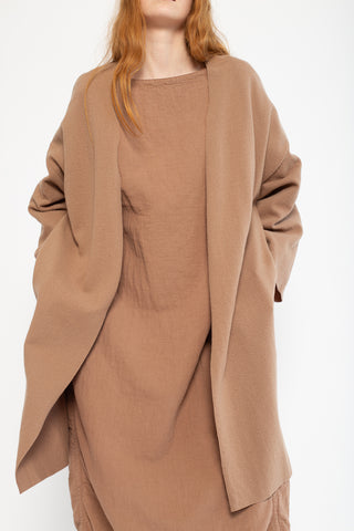 Black Crane No Collar Jacket in Camel Wool/Nylon, Front View Cropped Chin to Knee