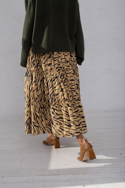 Rejina Pyo Eve Skirt in Tiger Print Beige back view