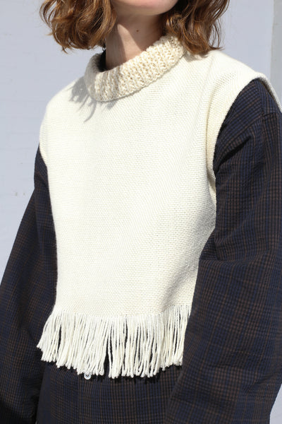Cristaseya Handmade Fringed Small Poncho in White on model view front