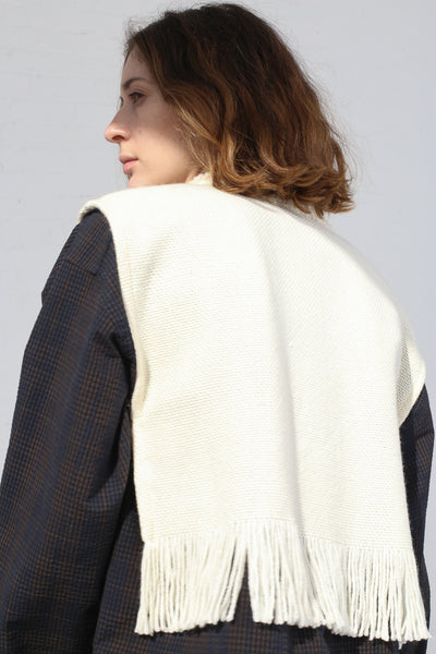 Cristaseya Handmade Fringed Small Poncho in White on model view back