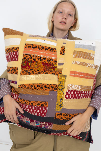Counterpane Patchwork Pillow in Earth Tone I | Oroboro Store | New York, NY