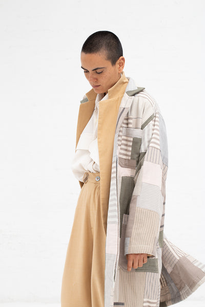 Marrakshi Life Patchwork Lab Coat in Tan | Oroboro Store | New York, NY
