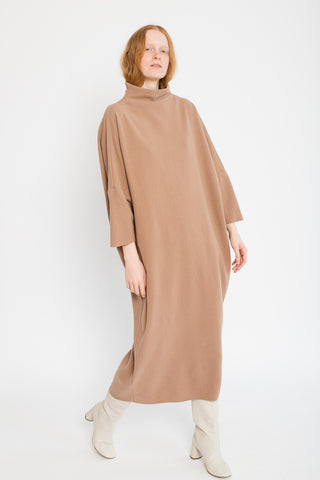 Puff Dress in Camel Wool/Nylon