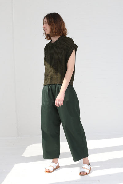 Cristaseya Light Cotton Moroccan Pyjama Pants in Forest Green on model view front