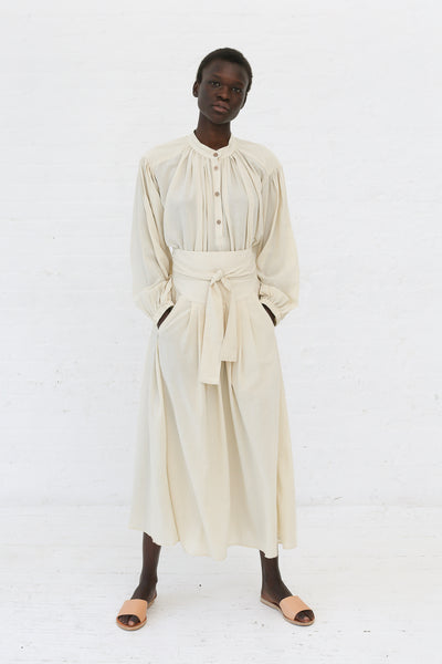 Black Crane Wrap Skirt in Cream | Oroboro Store | New York, NY