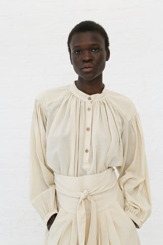 Black Crane Balloon Sleeve Blouse in Cream | Oroboro Store | New York, NY