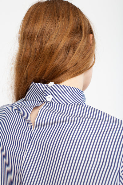 Jesse Kamm Box Turtleneck in Japanese Poplin Thin Stripe | Oroboro Store | New York, NY