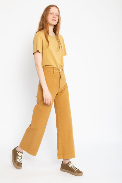 Jesse Kamm Sailor Pant in Wheat, Side View Model Walking