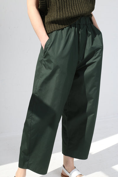 Cristaseya Light Cotton Moroccan Pyjama Pants in Forest Green on model view front detail
