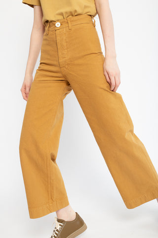 Jesse Kamm Sailor Pant in Wheat, Front View Cropped at Waist, Oroboro Store, New York, NY