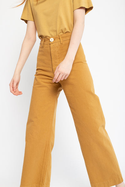 Jesse Kamm Sailor Pant in Wheat, Front View Cropped at Chest
