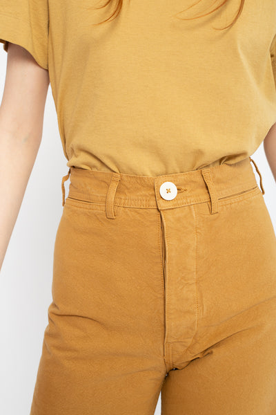 Jesse Kamm Sailor Pant in Wheat, Front View Close Up of Waist