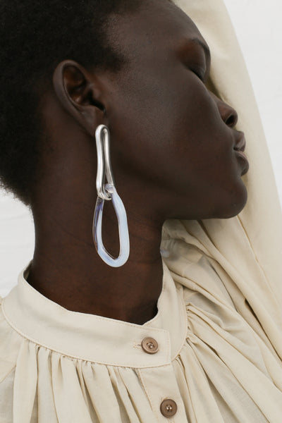 Leigh MIller Large Opaline Interlocking Earrings in Rhodium Plated Brass and Artisan Glass | Oroboro Store | New York, NY