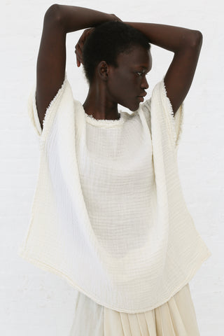 Black Crane Double Gauze Top in Cream | Oroboro Store | New York, NY