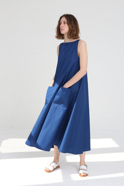Cristaseya Sleeveless Light Cotton Summer Long Dress in Blue on model view front