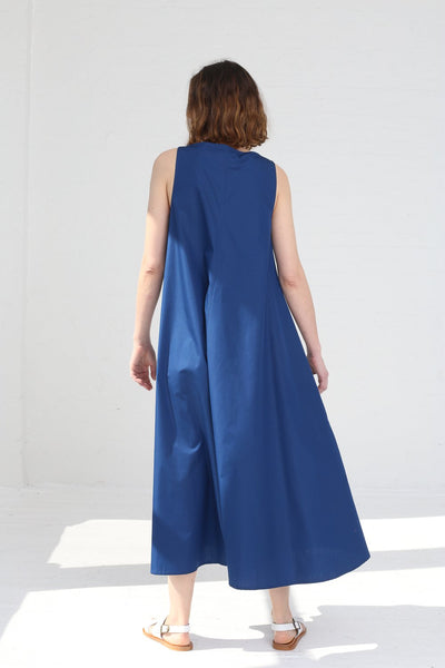 Cristaseya Sleeveless Light Cotton Summer Long Dress in Blue on model view back