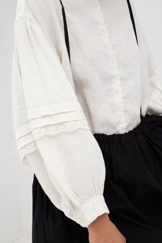 Nest Robe Linen Cluny Lace Sleeve Blouse in Off White | Oroboro Store | New York, NY