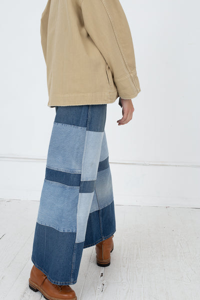 B Sides Claude Mid High Straight - Awning Stripe Patchwork in Quincy Medium Vintage Back View Model is Walking