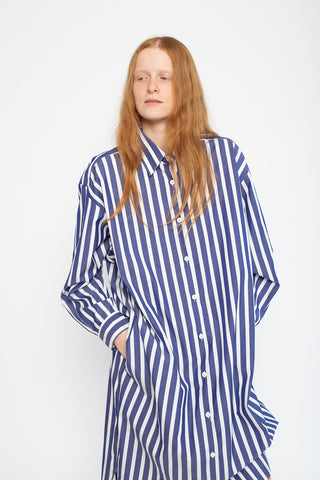 Jesse Kamm Ulu Shirt Dress in Japanese Poplin Bold Stripe | Oroboro Store | New York, NY