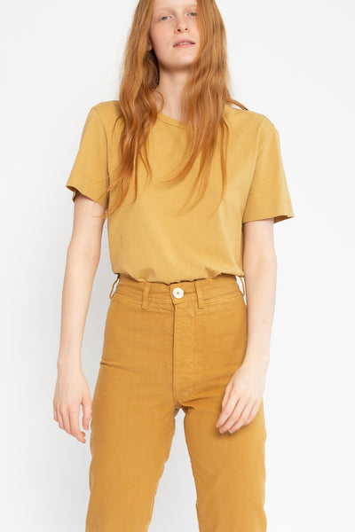 Jesse Kamm Ranger Pant in Wheat, Front View Cropped at Knee