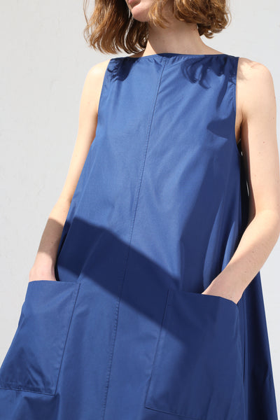 Sleeveless Light Cotton Summer Long Dress in Blue