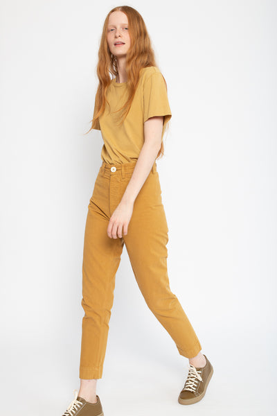 Jesse Kamm Ranger Pant in Wheat, Side View Model is Walking