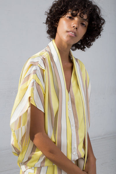 Rito Two Pattern Combination Shirt with Scarf Collar in Yellow cropped front view