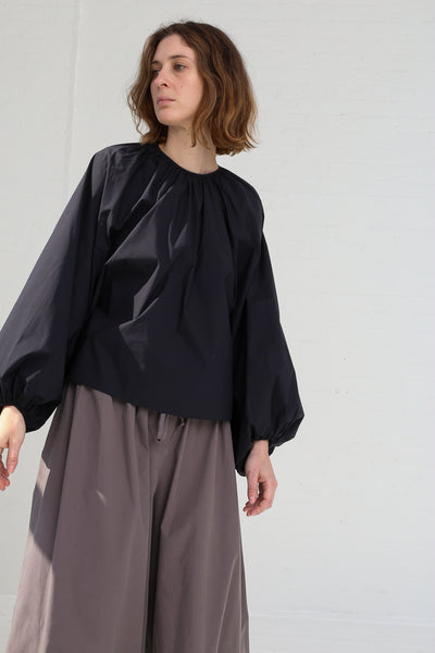Studio Nicholson Gathered Volume Top in Dark Navy on model view front